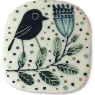 Bird with flower brooch by Karen Risby