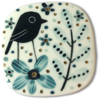 Bird on flower brooch by Karen Risby