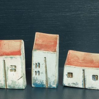 Three Small White Blue Houses by Vesna Gusman