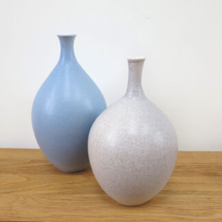 French Grey and Sky Blue Bottles by Lucy Burley
