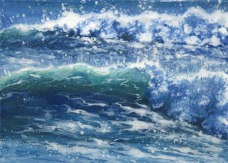 Indigo fused glass painting by Jane Reeves