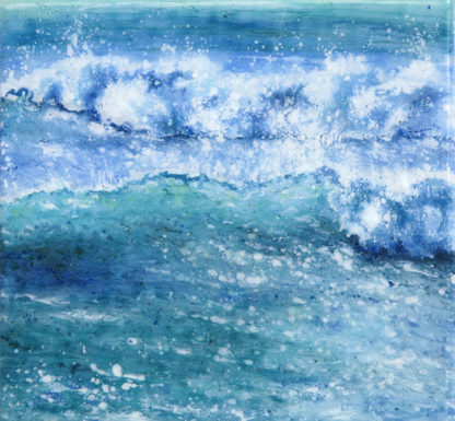 Wave Song painted fused glass by Jane Reeves
