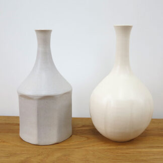 Pebble Grey Faceted and Ivory Fluted Bottles by Lucy Burley