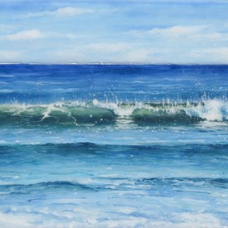 Consoling Sea fused glass painting by Jane Reeves