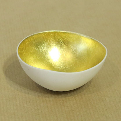 Medium gilded gold bowl by Justine Allison