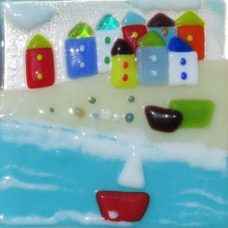 Red Boat fused glass by Jane Reeves