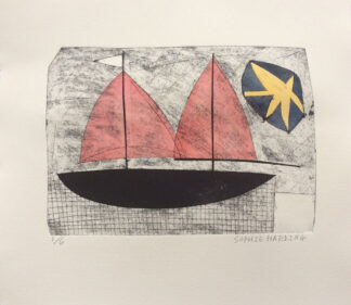 Red Sails and Star print by Sophie Harding