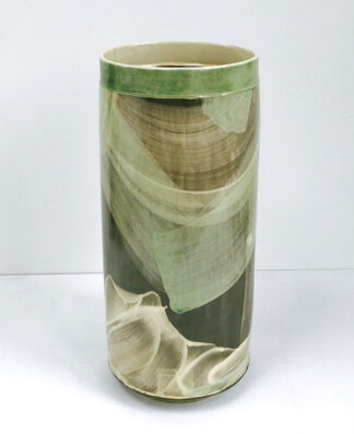 Emily-Kriste Wilcox Tall Vessel Green and Cream